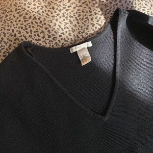 H&M basics, black 3/4 sleeve v-neck sweater